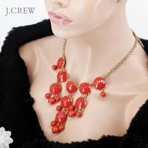 J. CREW Orange Red and Gold Bib Necklace NWOT